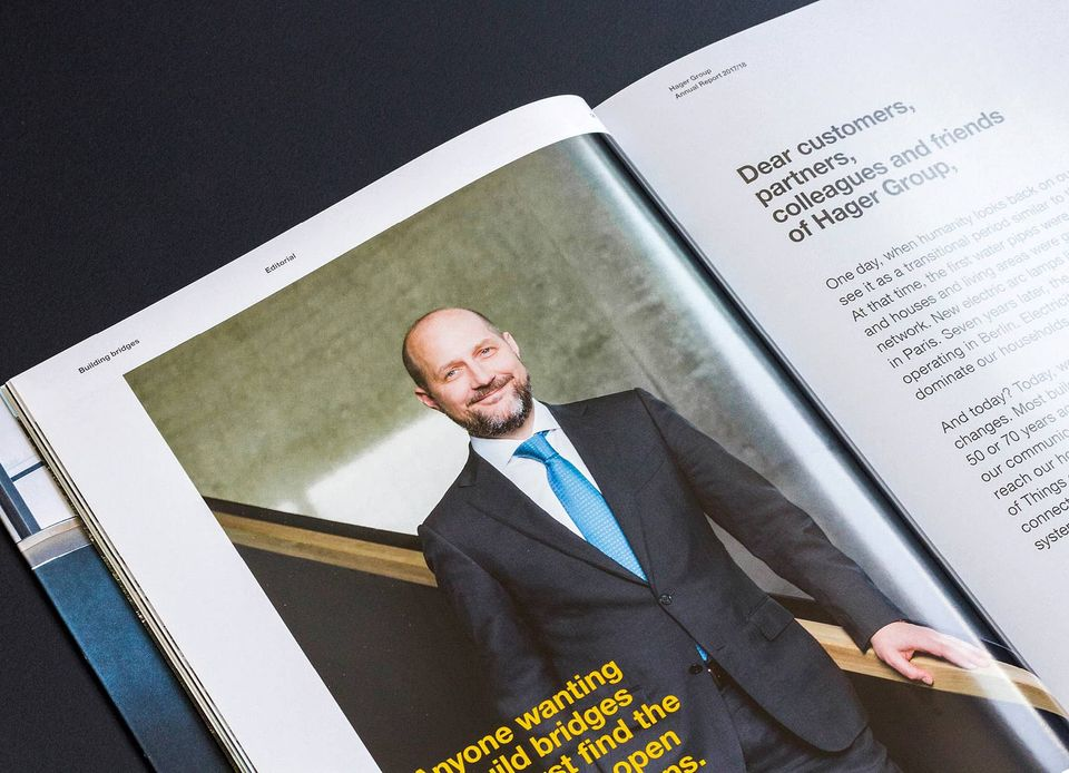 Hager Group AR2017/18 - Editorial CEO Daniel Hager